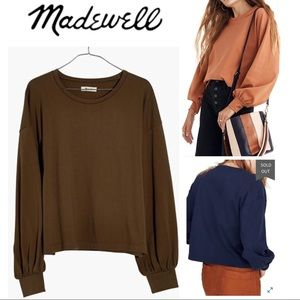 Madewell | Chord Bubble Sleeve Top in Olive Color